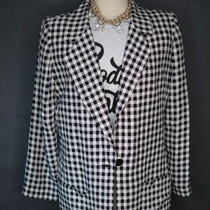 Dana Buchman Jackets & Coats - Vintage Black and White Checkered Blazer